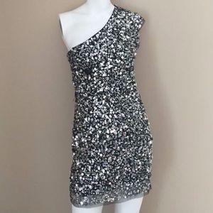 Arden B Smoke Grey One-Shoulder Sequin Dress